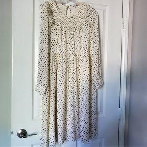 Madewell Smocked Ruffle-Shoulder Dress LP